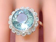 ANTIQUE ART DECO 8.15ct ROUND AQUAMARINE DIAMOND HALO COCKTAIL RING 1930 sz 10
