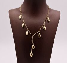 Shiny Chandelier Ball Drop Pendant Necklace Real 10K Yellow Gold Cable Chain