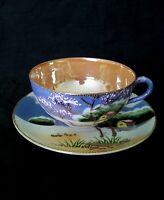 Vintage hand painted & enamelled porcelain tea cup & saucer Japan