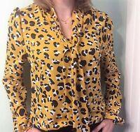 John Zack  Pussybow Tie Neck Blouse Shirt  Top Leopard Animal