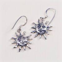 Vtg Handmade 925 Sterling Silver Earrings With Mondo Sun Face Dangles