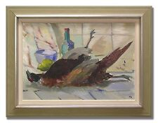 TAGE NILSSON / PHEASANT ON TABLE - Original Swedish Oil Painting