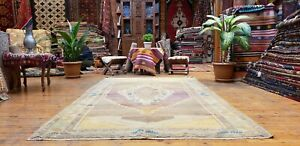 Beautiful Antique 1940's Muted Natural Dye,Wool Pile Oushak Area Rug 5x8ft