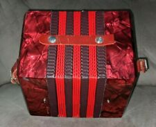 Vintage Concertina 20 Button Accordion Italy ruby red marbled finish Works RARE