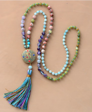 Natural Gemstone Beaded Mala Tassel Necklace Bright Colours Agate Amethyst Yoga