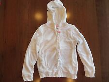 OshKosh Girls White Hooded Ruffle Terry Cloth Zip Up Sweatshirt Size 6 EUC