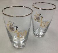 "2 Glasses Tumbler Rx Medical Pharmacy Low Balls Juice 4 3/4"" Gold Doctor Symbols"