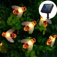 30 LED Bee Solar Party Fairy Outdoor String Lights for Patio & Garden