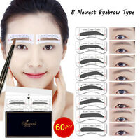 Hot 8 Types 64Pcs Eyebrow Template Stickers  Eyebrow Stencils Drawing Card 2019
