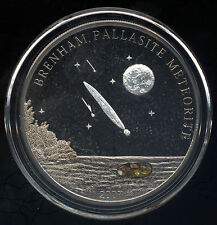 Cook Islands 2007 $5 Silver Proof Coin Brenham Pallasite Meteorite Palladium COA