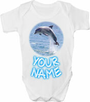 DOLPHIN PERSONALISED BABY VEST / GRO /BODYSUIT **GREAT GIFT & NAMED TOO**