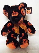 "Fiesta Cuddle Jacquard Bear 16"" Plush Happy Halloween Black Orange Pumpkins Bow"