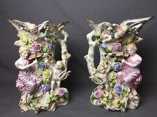 """Beautiful Antique Set of 2 German Made 13"""" Vases Cherubs Flowers Woman Violin"""