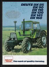 DEUTZ DX85/DX90/DX110/DX120/DX145/DX160 TRACTORS 12 PAGE BROCHURE