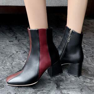 Elegant Square Toe Block Heel Side Zip Women Boot Colorblock Faux Leather Bootie