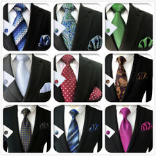 S&W SHLAX&WING Ties for Men Necktie Set with Pocket Square Cufflinks Hanky XL