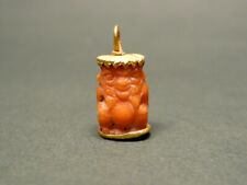 EGYPTIAN GOLD & CORAL GOD BES PENDANT LATE PERIOD 716-30 BC