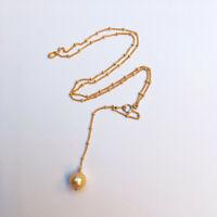 AGP5  9.5-10mm Australia seawater gold Pearl pendant W/48cm 14KGF Necklace