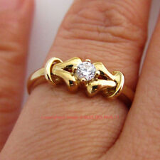 Cubic Zirconia Solitaire Not Enhanced Yellow Gold Fine Rings