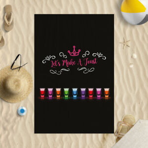 """58x39"""" Shot Glass Let's Make A Toast Microfibre Beach Towel Summer Holiday Gift"""