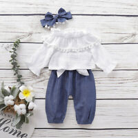 Toddler Bell Bottom Flare T-shirts/&Pants Off-shoulder Tops Baby Girl Clothes