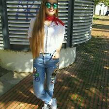 Zara Denim Embroidered Patch Jeans Size Uk6/34 BNWT