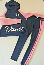 Justice Active Wear DANCE Pant Leggings & Hoodie Top Outfit Girl Size 12 NEW