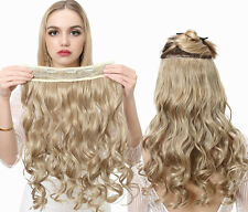 """Full Head One Piece 5 clips-In on wavy Human Hair Extensions 16""""~22"""" clip hair"""