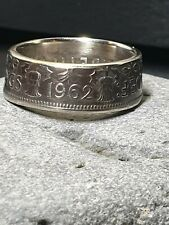 1962  2 Shillings coin ring Size R