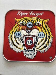 "Ohio Arts Tin Litho Tiger/Bulls Eye Target 9"" x 9"" Colorful Vintage"