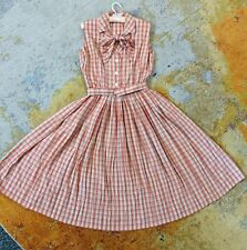 New listing Vintage Orange Plaid 1960s Sleeveless Shirt Dress Circle Skirt Size S M