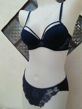 NWT VICTORIA'S SECRET SEXY Blue Lacey Bra & Panty Underwear Set Nice