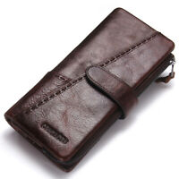 Men's Genuine Cowhide Leather Wallet Long RFID Trifold Card Holder Clutch Purse