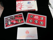 United States Mint Silver 2001 Proof Set MIB With COA