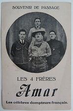 CARTE PHOTO SOUVENIR LES 4 FRERES AMAR LES CELEBRES DOMPTEURS FRANCAIS 1925