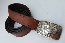 42 105 Crafted in Canada A09403 H5 Cole Haan Silver Buckle Leather Brown Belt