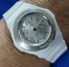 BABY G WR 10BAR 5059 Casio LIGHTS UP TIMER WHITE SILICONE SILVER WATCH A75