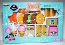 SWEET CAFE PLAY FOOD CHRISTMAS GIFT ICE CREAM COOKIES HAMBURGER GIRLS TOY 19 PC