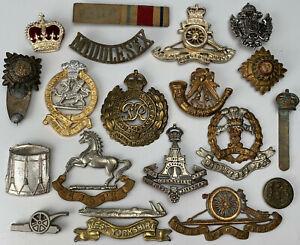 Original WW1 WW2 British Army Cap, Collar Badges Shoulder Titles Group Lot