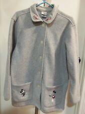 New listing Disney Store Mickey & Minnie Mouse Gray Fleece Ladies Jacket Button Up - Size L