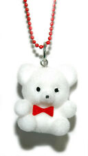 CUTE FUZZY WHITE TEDDY BEAR NECKLACE (N029)