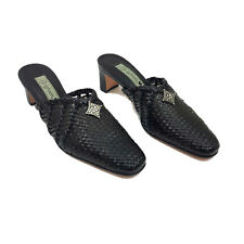 EUC Brighton Abby Black Brown Leather Woven Mules US 6.5M