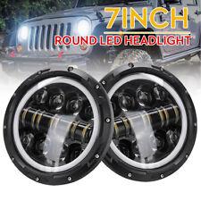 "2 X 7"" 60W Round LED Headlights DRL Light Hi/lo Beam White & Amber Lamp For Jeep"