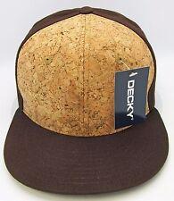 DECKY Cork Snapback Cap Hat Flat Bill Visor Caps Hats OSFM Brown NWT