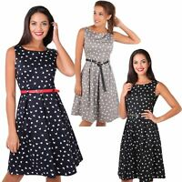 Womens Vintage Shift Dress Pin Up Flared Butterfly Midi Tea Belt Skater Summer