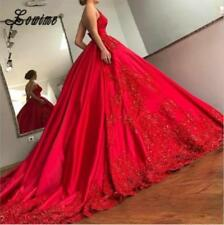 Red Gorgeous Satin Appliques A Line Wedding Dress Cathedral Train Bridal Gown