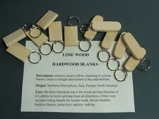 LIME WOOD KEYRING BLANKS-pyrography,painting or engraving--12 in pack £4.95+car