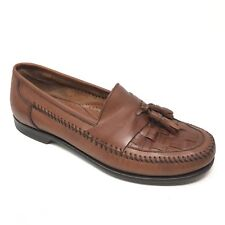 Men's Bass Bryan II Loafers Shoes Size 9M Brown Leather Woven Tassels Dress AA5