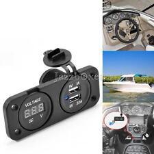 Black USB Charger Voltmeter For Honda Shadow Aero Phantom VT VLX 600 750 1100