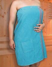 Damen Frottee Sauna Kilt Saunatuch Wellness mit Fronttasche Türkis